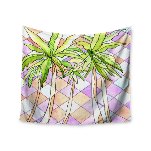 "Rosie Brown ""Geometric Tropic"" Pink Green Wall Tapestry - KESS InHouse  - 1"