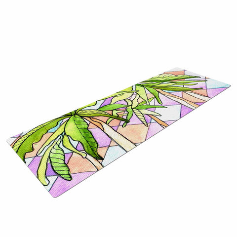"Rosie Brown ""Geometric Tropic"" Pink Green Yoga Mat - KESS InHouse  - 1"