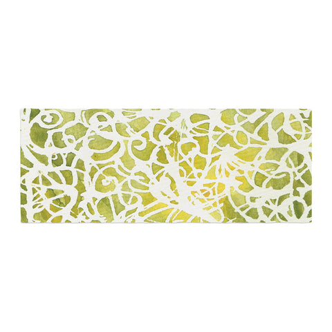"Rosie Brown ""Spiral"" Green Abstract Bed Runner - KESS InHouse"