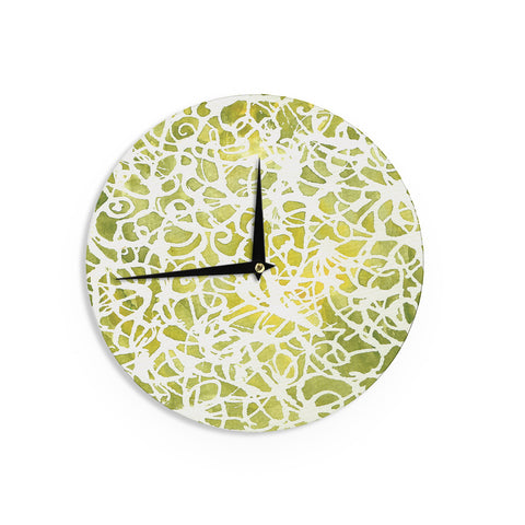 "Rosie Brown ""Spiral"" Green Abstract Wall Clock - KESS InHouse"