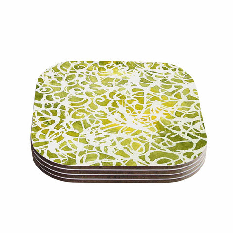 "Rosie Brown ""Spiral"" Green Abstract Coasters (Set of 4)"