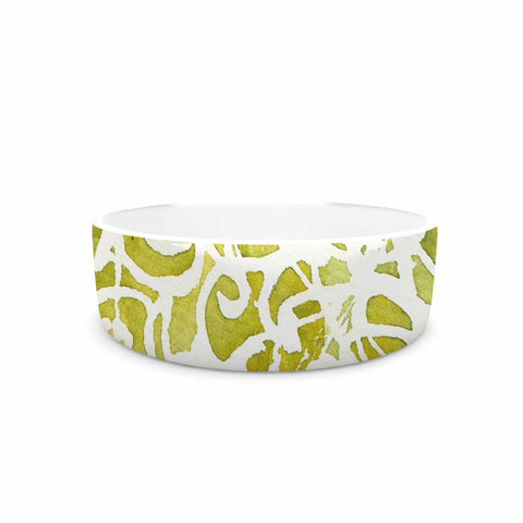 "Rosie Brown ""Spiral"" Green Abstract Pet Bowl - KESS InHouse"