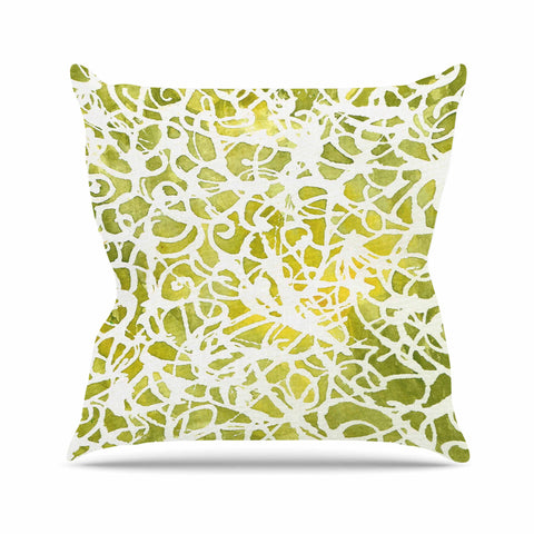 "Rosie Brown ""Spiral"" Green Abstract Outdoor Throw Pillow - KESS InHouse  - 1"