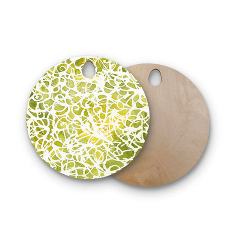"Rosie Brown ""Spiral"" Green Abstract Round Wooden Cutting Board"