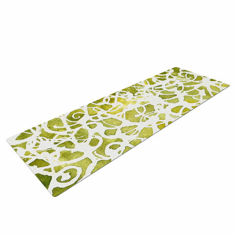 "Rosie Brown ""Spiral"" Green Abstract Yoga Mat - KESS InHouse  - 1"
