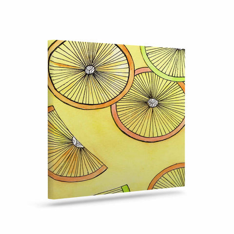"Rosie Brown ""Lemons And Limes"" Yellow Fruit Canvas Art - KESS InHouse  - 1"
