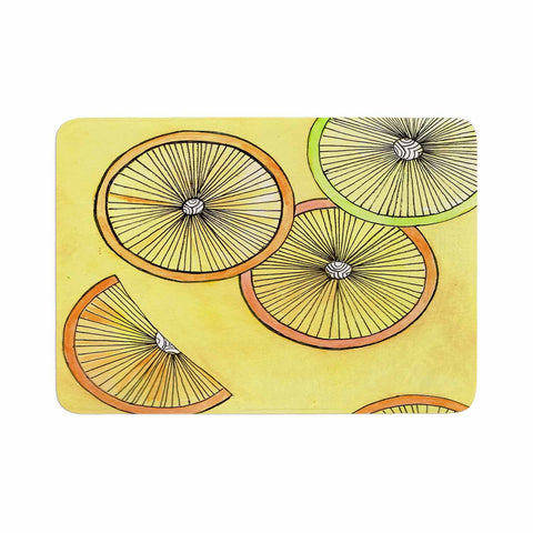 "Rosie Brown ""Lemons And Limes"" Yellow Fruit Memory Foam Bath Mat - KESS InHouse"