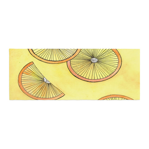 "Rosie Brown ""Lemons And Limes"" Yellow Fruit Bed Runner - KESS InHouse"