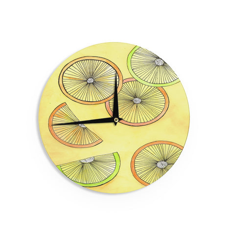 "Rosie Brown ""Lemons And Limes"" Yellow Fruit Wall Clock - KESS InHouse"