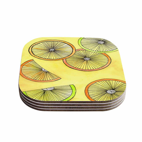 "Rosie Brown ""Lemons And Limes"" Yellow Fruit Coasters (Set of 4)"