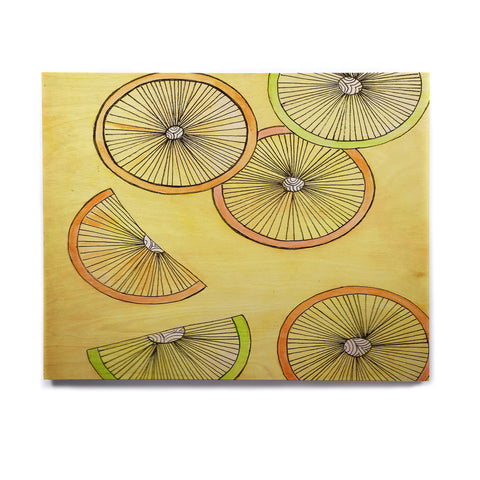 "Rosie Brown ""Lemons And Limes"" Yellow Fruit Birchwood Wall Art - KESS InHouse  - 1"