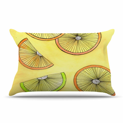 "Rosie Brown ""Lemons And Limes"" Yellow Fruit Pillow Sham - KESS InHouse"