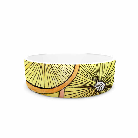 "Rosie Brown ""Lemons And Limes"" Yellow Fruit Pet Bowl - KESS InHouse"