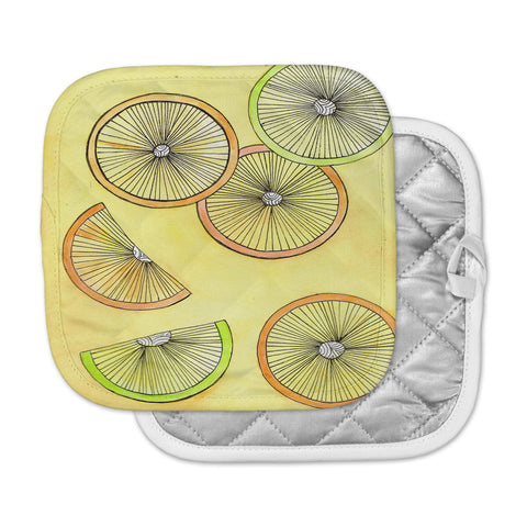 "Rosie Brown ""Lemons And Limes"" Yellow Fruit Pot Holder"
