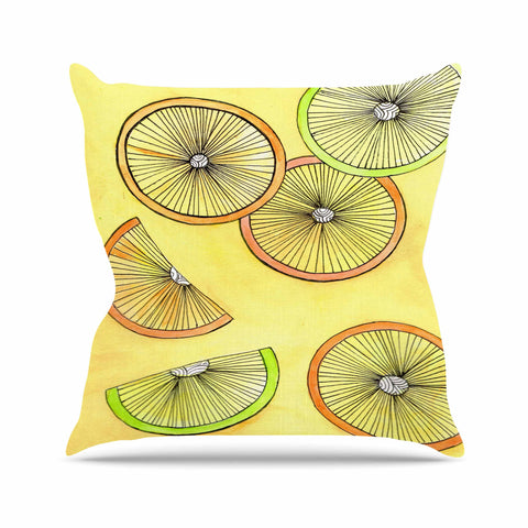 "Rosie Brown ""Lemons And Limes"" Yellow Fruit Outdoor Throw Pillow - KESS InHouse  - 1"