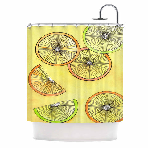 "Rosie Brown ""Lemons And Limes"" Yellow Fruit Shower Curtain - KESS InHouse"