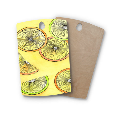 "Rosie Brown ""Lemons And Limes"" Yellow Fruit Rectangle Wooden Cutting Board"