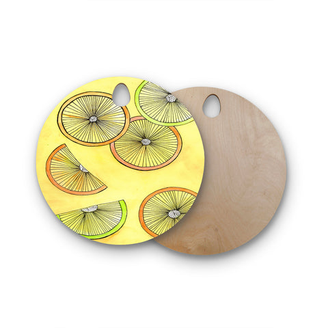 "Rosie Brown ""Lemons And Limes"" Yellow Fruit Round Wooden Cutting Board"