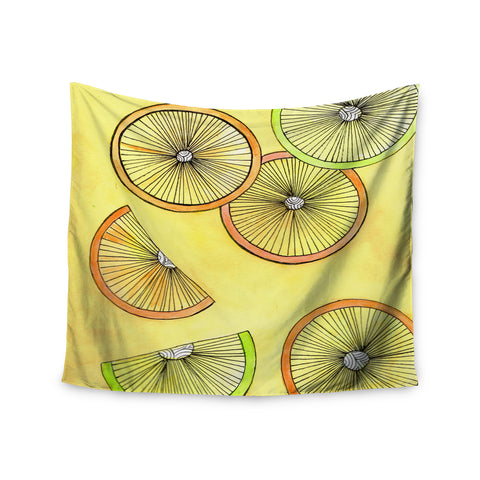 "Rosie Brown ""Lemons And Limes"" Yellow Fruit Wall Tapestry - KESS InHouse  - 1"