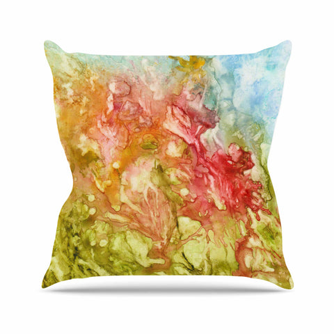 "Rosie Brown ""Fantasy Garden"" Yellow Painting Outdoor Throw Pillow - KESS InHouse  - 1"