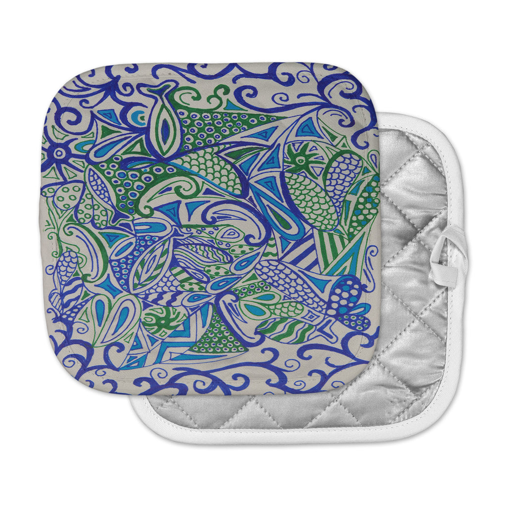 "Rosie Brown ""Blue Green Zentangle"" Blue Green Pot Holder"