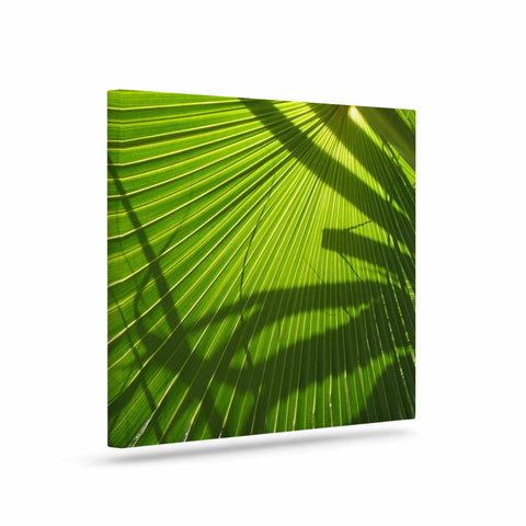 "Rosie Brown ""Palm Shadows"" Green Lime Canvas Art - KESS InHouse  - 1"