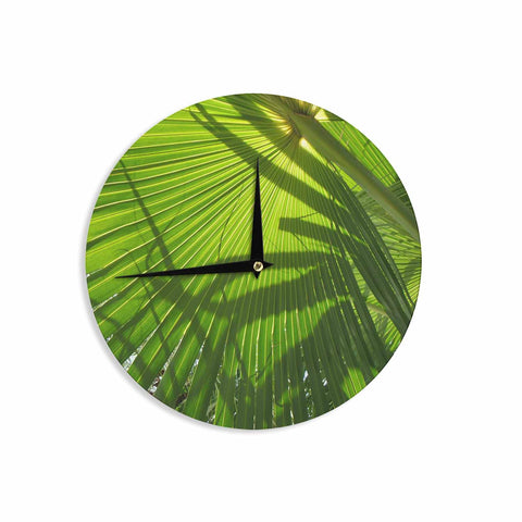 "Rosie Brown ""Palm Shadows"" Green Lime Wall Clock - KESS InHouse"