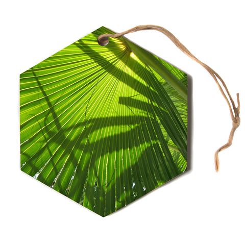 "Rosie Brown ""Palm Shadows"" Green Lime Hexagon Holiday Ornament"