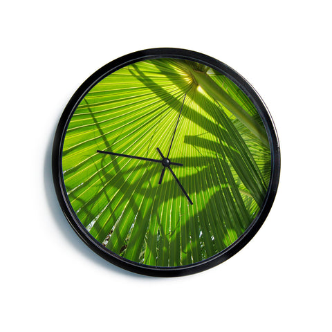 "Rosie Brown ""Palm Shadows"" Green Lime Modern Wall Clock"