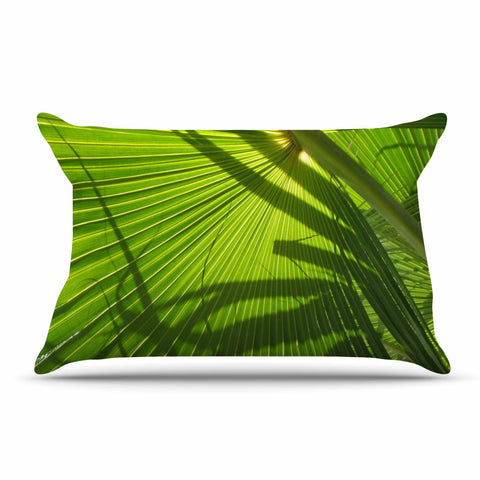 "Rosie Brown ""Palm Shadows"" Green Lime Pillow Sham - KESS InHouse  - 1"
