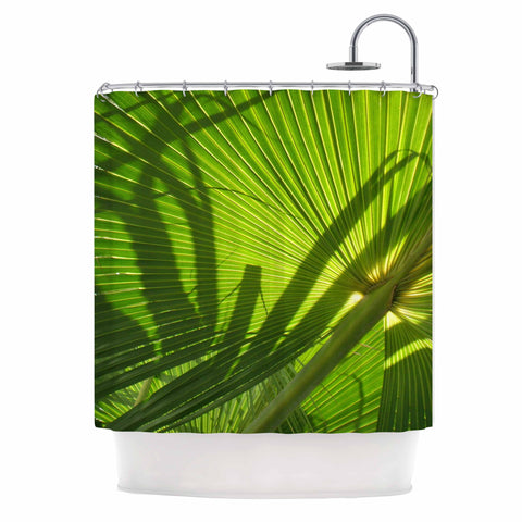 "Rosie Brown ""Palm Shadows"" Green Lime Shower Curtain - KESS InHouse"
