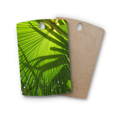 "Rosie Brown ""Palm Shadows"" Green Lime Rectangle Wooden Cutting Board"