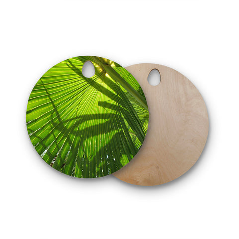 "Rosie Brown ""Palm Shadows"" Green Lime Round Wooden Cutting Board"