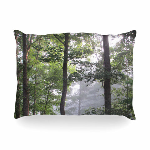 "Rosie Brown ""Morning Fog"" Green Gray Photography Oblong Pillow"