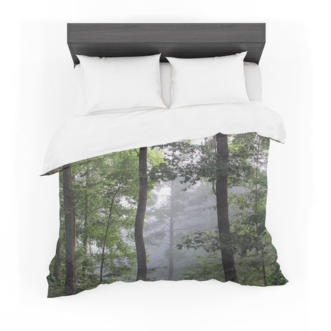 "Rosie Brown ""Morning Fog"" Green Gray Photography Featherweight Duvet Cover"