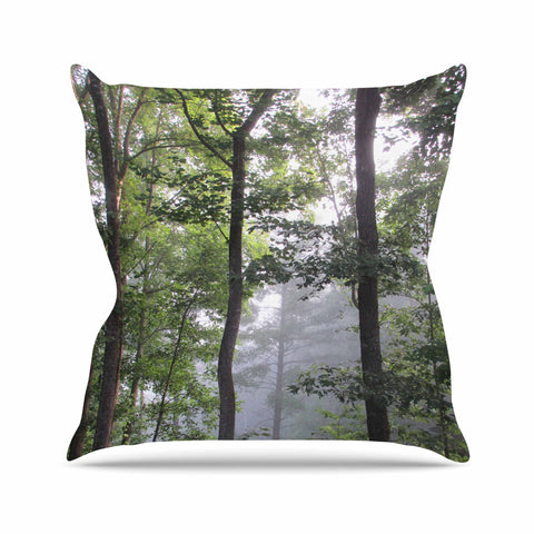 "Rosie Brown ""Morning Fog"" Green Gray Photography Outdoor Throw Pillow"