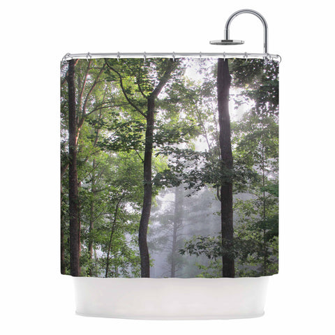 "Rosie Brown ""Morning Fog"" Green Gray Photography Shower Curtain"