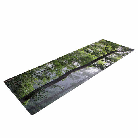 "Rosie Brown ""Morning Fog"" Green Gray Photography Yoga Mat"