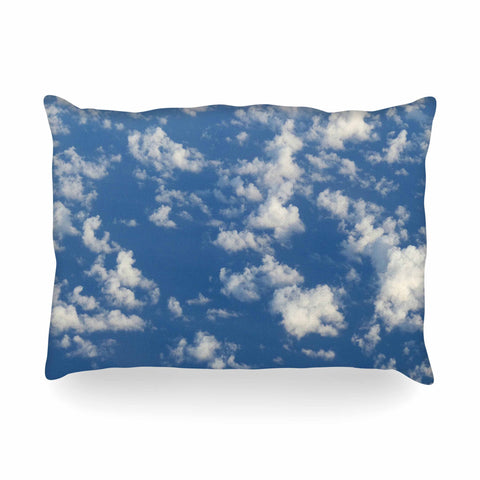 "Rosie Brown ""Cotton Clouds"" Blue White Photography Oblong Pillow"