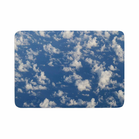 "Rosie Brown ""Cotton Clouds"" Blue White Photography Memory Foam Bath Mat"