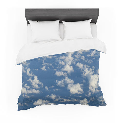 "Rosie Brown ""Cotton Clouds"" Blue White Photography Featherweight Duvet Cover"