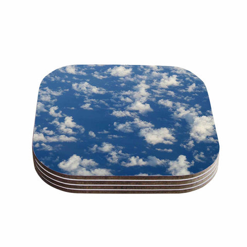 "Rosie Brown ""Cotton Clouds"" Blue White Photography Coasters (Set of 4)"