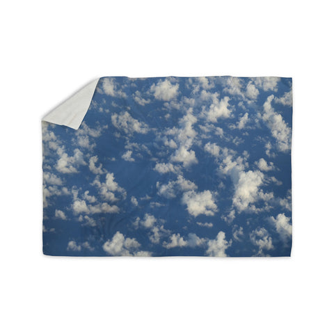 "Rosie Brown ""Cotton Clouds"" Blue White Photography Sherpa Blanket"