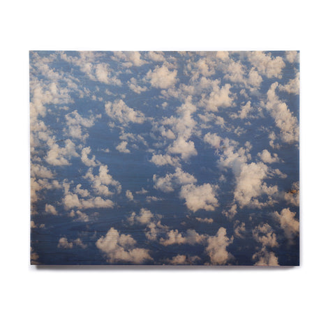 "Rosie Brown ""Cotton Clouds"" Blue White Photography Birchwood Wall Art"