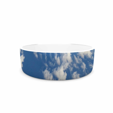 "Rosie Brown ""Cotton Clouds"" Blue White Photography Pet Bowl"