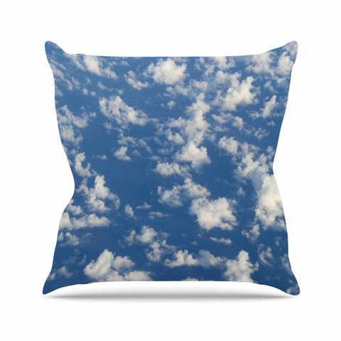 "Rosie Brown ""Cotton Clouds"" Blue White Photography Outdoor Throw Pillow"