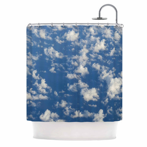 "Rosie Brown ""Cotton Clouds"" Blue White Photography Shower Curtain"