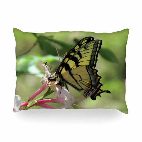 "Rosie Brown ""Gibbs Garden Butterfly"" Green Yellow Photography Oblong Pillow"