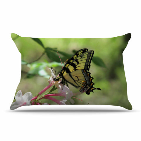 "Rosie Brown ""Gibbs Garden Butterfly"" Green Yellow Photography Pillow Sham"