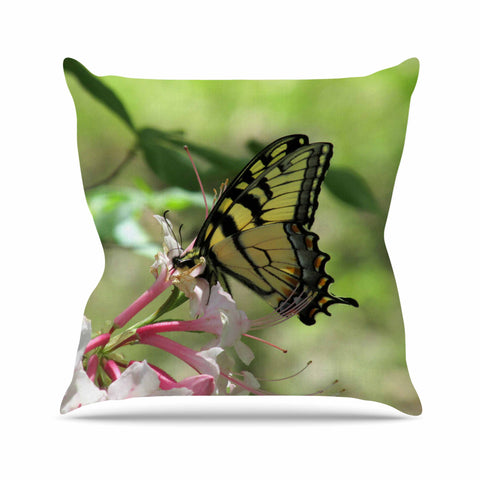 "Rosie Brown ""Gibbs Garden Butterfly"" Green Yellow Photography Outdoor Throw Pillow"